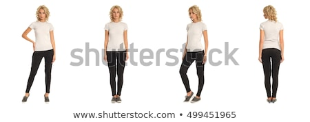 Bastante mulher jovem preto perneiras bolsa mulher Foto stock © acidgrey
