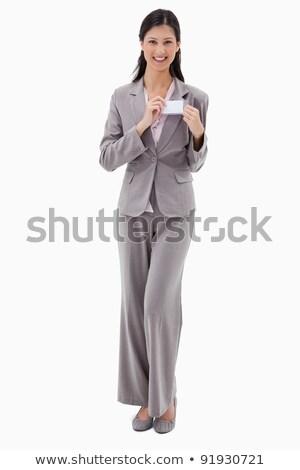 Kobieta interesu nazwa odznakę biały uśmiech przestrzeni Zdjęcia stock © wavebreak_media