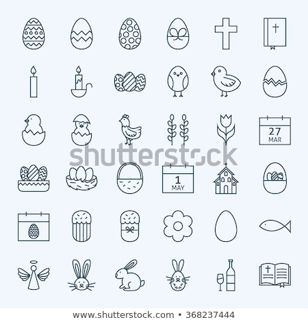 vektör · ikon · easter · egg · sepet · Paskalya - stok fotoğraf © zzve