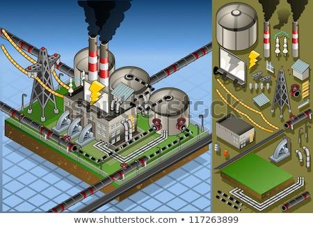 elektomos · erőmű · farm · gyönyörű · színes · legelő - stock fotó © meinzahn