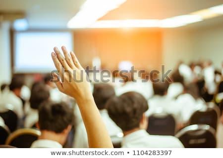 empresário · pergunta · apresentação · sala · de · conferência · caneta · pessoas · de · negócios - foto stock © wavebreak_media