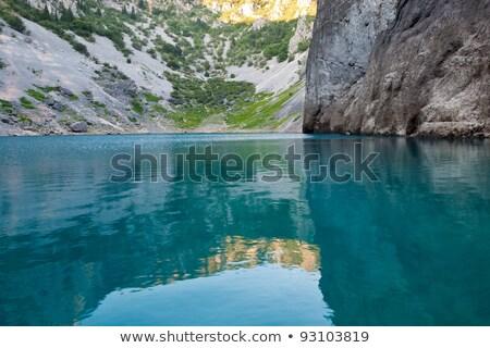 Mavi göl kalker krater Hırvatistan su Stok fotoğraf © anshar