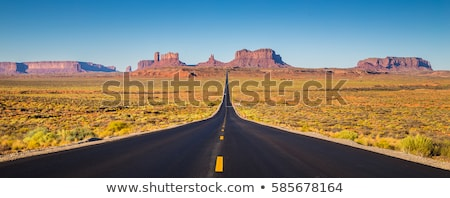 panoramic view of famous monument valley with blue sky stock photo © vwalakte