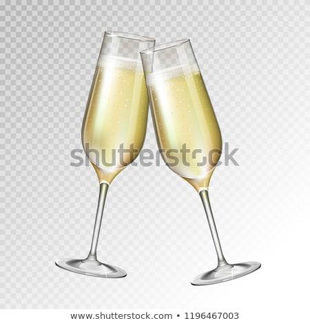 dois · champanhe · óculos · mesa · de · jantar · caixas · de · presente · vidro - foto stock © taden