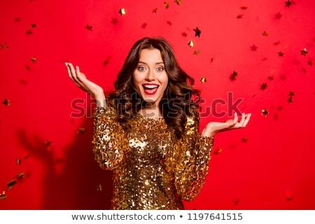 Vrouw funky jurk glimlachend modieus jonge vrouw Stockfoto © stepstock