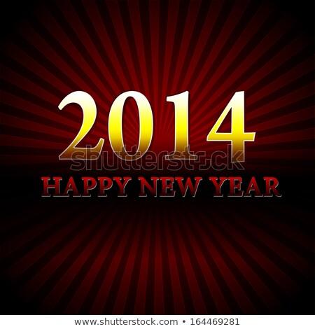 golden happy new year 2014 over red rays Stock photo © marinini