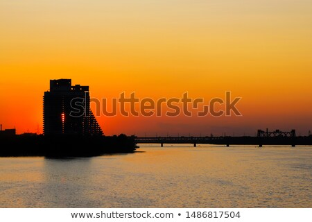 night skyline of dnipropetrovsk over the river dnipro ukraine stock photo © maxpro