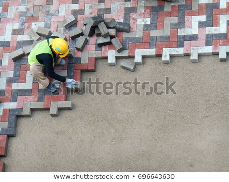 строительная · площадка · кирпичных · конкретные · тротуар · гравий - Сток-фото © simazoran