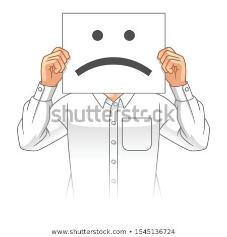 Biznesmen wizytówkę smutne twarz wydrukowane Zdjęcia stock © stevanovicigor