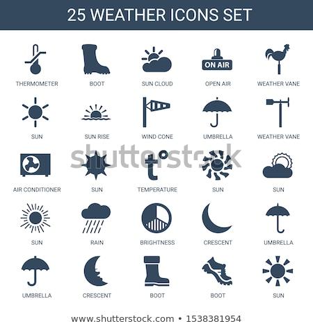Bianco Meteo icone nero set 25 Foto d'archivio © liliwhite
