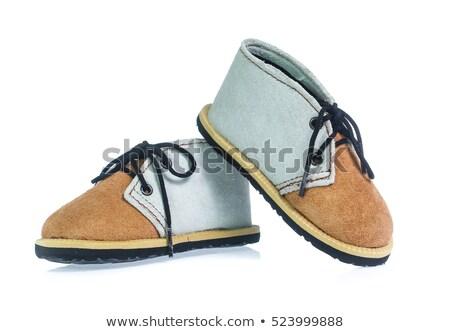 Stock photo: Blue baby shoes isolated on white background