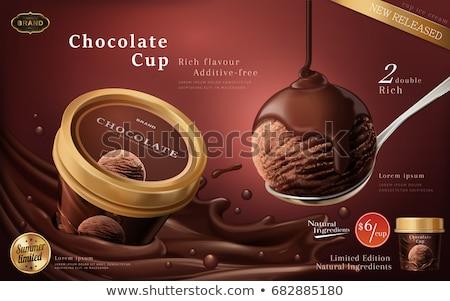 Ilustração 3d chocolate sorvete 3d render luz azul fundo Foto stock © klss