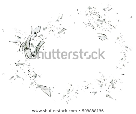 Hole and Pieces of shattered glass isolated  Stock photo © Arsgera