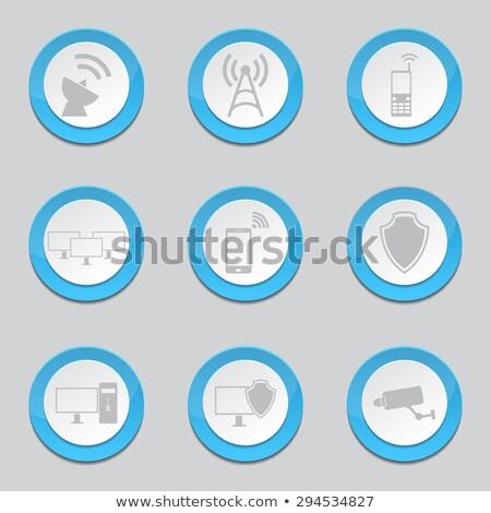 Foto stock: Cctv · signo · azul · vector · icono · botón
