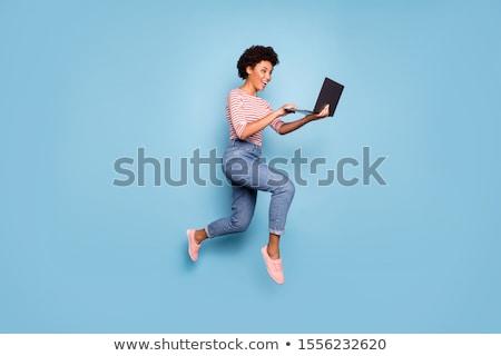 Stockfoto: Glimlachend · zakenvrouw · student · laptop · onderwijs · business