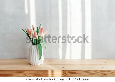 zöld · virágok · váza · víz · tulipán · üveg - stock fotó © valeriy