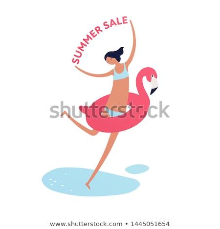 feliz · mulher · jovem · maiô · vermelho · venda · assinar - foto stock © dolgachov