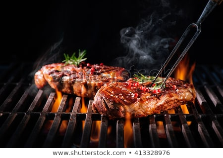 disznóhús · nyárs · zöldségek · fokhagyma · koktélparadicsom · étel - stock fotó © -baks-