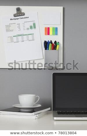 Jelzálog üzenet asztal kávé papír háttér Stock fotó © fuzzbones0
