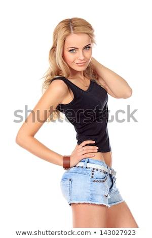 きれいな女性 ジーンズ ショートパンツ 孤立した 白 少女 ストックフォト © Elnur
