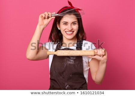 kobieta · wałkiem · uśmiechnięta · kobieta · żywności · kuchnia - zdjęcia stock © imagedb