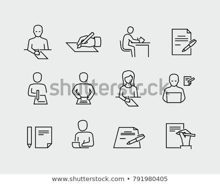 biuro · pióro · biały · odizolowany · papieru - zdjęcia stock © morphart