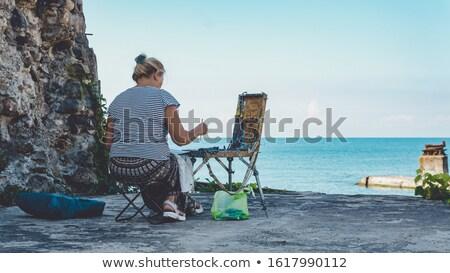 Lápis praia papel escolas projeto fundo Foto stock © laciatek