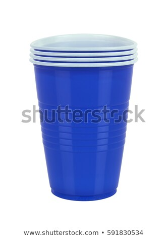 Blauw plastic witte achtergrond drinken diner Stockfoto © tetkoren
