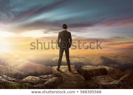 Stock fotó: üzletember · áll · legelő · égbolt · természet · tájkép