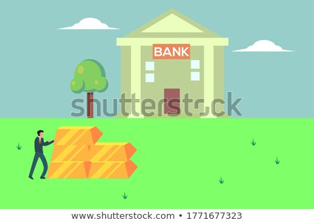 businessman pushes standing on grass Stock photo © Paha_L