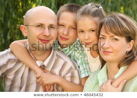 Family with two children near osier looking at camera. Stock photo © Paha_L