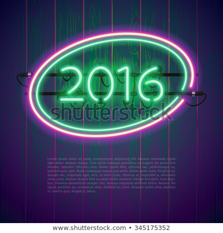 Ultraviolet Glowing Neon Sign 2016 Stock photo © Voysla