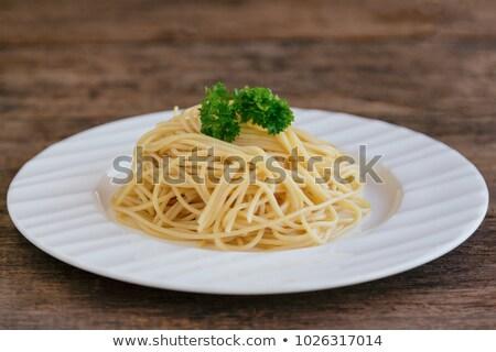 Plate of plain cooked Italian spaghetti pasta Stock photo © ozgur