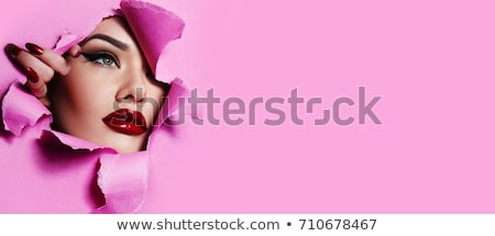 Beautiful girl with bright red lips Stock photo © svetography