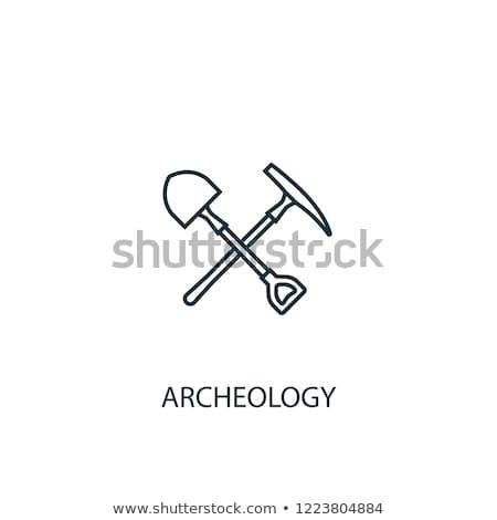 bányászat · ipari · merítőkanál · vonal · ikon · sarkok - stock fotó © rastudio