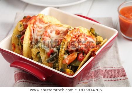 Lezzetli tacos gıda tablo mutfak restoran Stok fotoğraf © racoolstudio