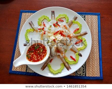 Pikantny sos puchar gotowany obrane naczyń Zdjęcia stock © Digifoodstock