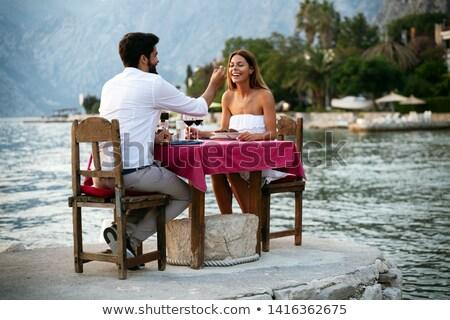 ristorante · terrazza · elegante · Coppia · romantica · felice - foto d'archivio © dash