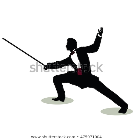 Stock photo: man silhouette in Still Pose Fencer