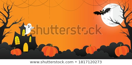 halloween grave poster with moon Stock photo © SArts