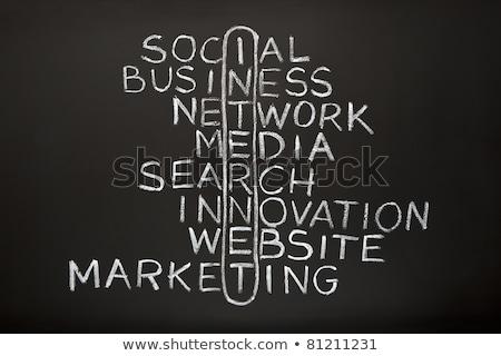 Stockfoto: Merk · strategie · witte · krijt · Blackboard