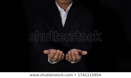 Középső rész üzletember megérint mutatóujj láthatatlan képernyő Stock fotó © wavebreak_media