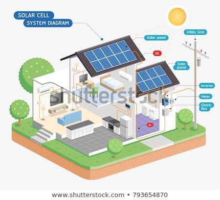 Zonnepanelen witte 3d illustration achtergrond zwarte energie Stockfoto © make