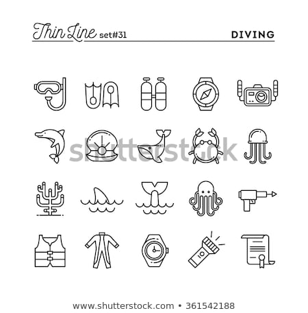Diving icons set with fish and equipment Stock photo © blotty