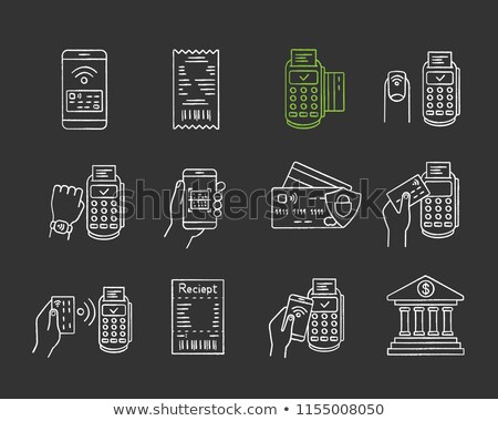e banking concept doodle icons on chalkboard stock photo © tashatuvango