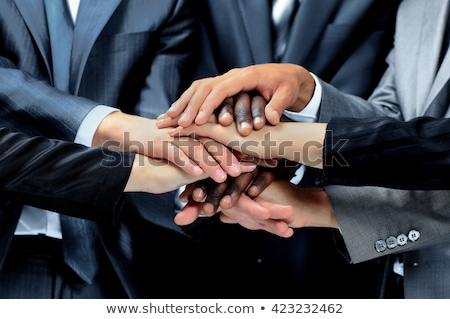 Stockfoto: Palm · zakenman · groot · vrouwelijke · klein