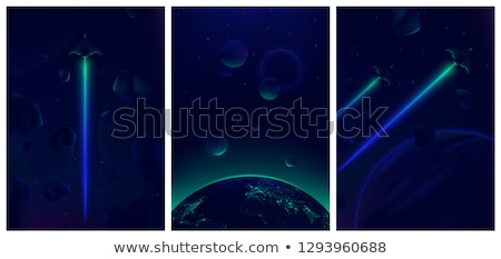 Spaceship flying in the dark space Stock photo © bluering