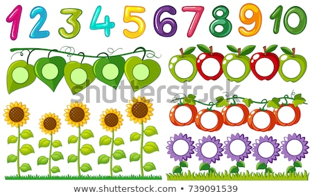 number one to ten with leaves and flowers frames stock photo © bluering