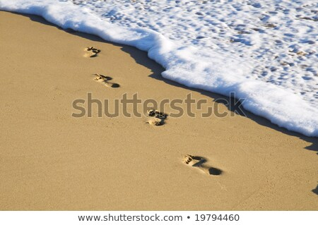 Ayak izleri kenar plaj yan ıslak Stok fotoğraf © Klinker