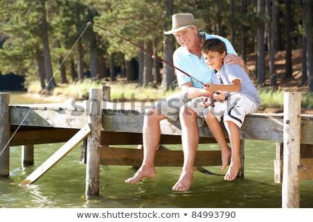 Сток-фото: Grandfather And Children Fishing
